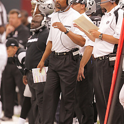 2008 October, 12: Oakland Raiders assistant coach James Lofton on the sideline during a week six regular season game between the Oakland Raiders and the New Orleans Saints at the Louisiana Superdome in New Orleans, LA.