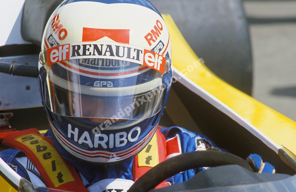 Alain Prost in his Renault with his helmet on during the 1983 season. Photo: Grand Prix Photo