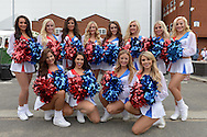 The Crystal Girls cheerleaders pose for a photo outside Selhurst Park before k.o. Barclays Premier league match, Crystal Palace v Arsenal at  Selhurst Park in London on Sunday 16th August 2015.<br /> pic by John Patrick Fletcher, Andrew Orchard sports photography.