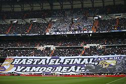 April 29, 2017 - Madrid, Spain - MADRID, SPAIN. APRIL 29th, 2017 - Real Madrid supporters. La Liga Santander matchday 35 game. Real Madrid defeated 2-1 Valencia with goals scored by Cristiano Ronaldo (26th minute) and Marcelo (86th minute). Parejo (82nd minute) scored for Valencia. Santiago Bernabeu Stadium. Photo by Antonio Pozo | PHOTO MEDIA EXPRESS (Credit Image: © Antonio Pozo/VW Pics via ZUMA Wire/ZUMAPRESS.com)