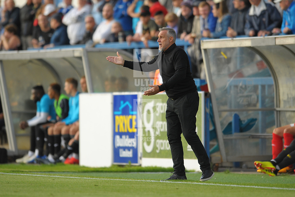 TELFORD COPYRIGHT MIKE SHERIDAN Kidderminster boss John Pemberton during the National League North fixture between AFC Telford United and Kidderminster Harriers on Tuesday, August 6, 2019.<br /> <br /> Picture credit: Mike Sheridan<br /> <br /> MS201920-006