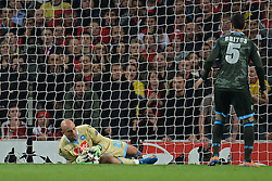 LONDON, ENGLAND - Oct 01: Napoli's goalkeeper Pepe Reina from Spain makes a save during the UEFA Champions League match between Arsenal from England and Napoli from Italy played at The Emirates Stadium, on October 01, 2013 in London, England. (Photo by Mitchell Gunn/ESPA)