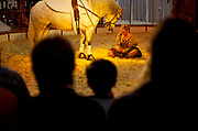 Nell Gifford and her horse during her act at Gifford Circus, Marlborough, UK.