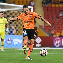 BRISBANE, AUSTRALIA - DECEMBER 22: Jade North of the Roar kicks the ball during the round 4 Foxtel National Youth League match between the Brisbane Roar and Melbourne City at AJ Kelly Field on December 22, 2016 in Brisbane, Australia. (Photo by Patrick Kearney/Brisbane Roar)