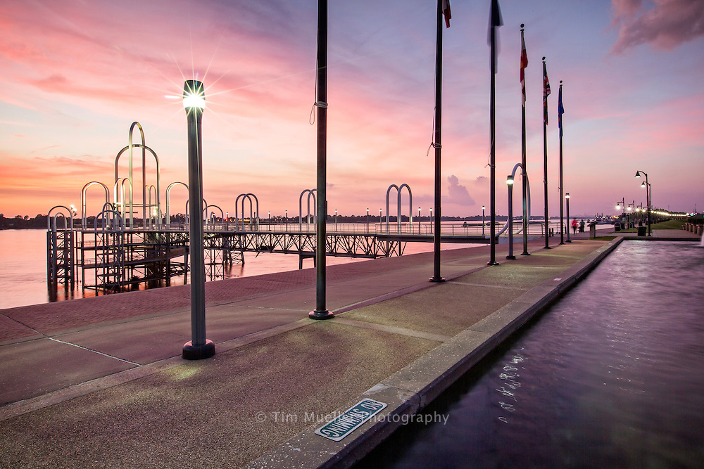 Along the Mississippi River in downtown Baton Rouge at dusk.