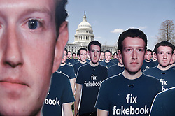 100 cutouts depicting Facebook CEO Mark Zuckerberg are placed on the East Front of the U.S Capitol by a global activist group on April 10, 2018 in Washington, DC. Photo by Olivier Douliery/ Abaca