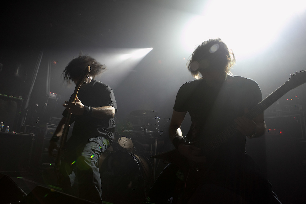 Illinois rock group Dirge Within performing at Irving Plaza, opening for Trivium.
