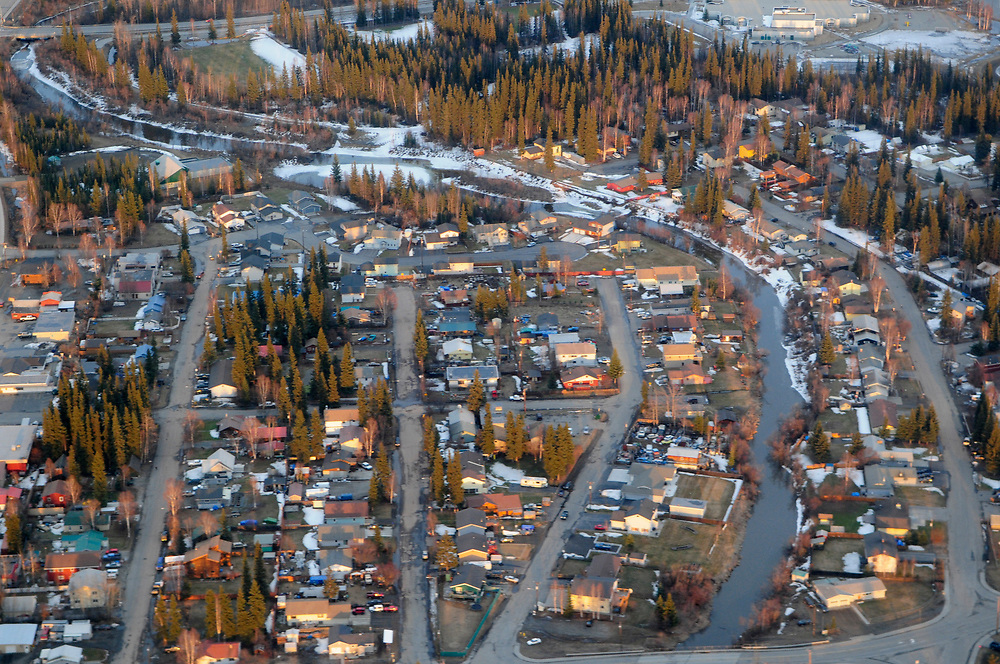 Alaska, Fairbanks. Spring 2008 - Aerial view of Fairbanks  area and the Yukon River in the morning.