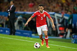 LILLE, FRANCE - Friday, July 1, 2016: Wales' Neil Taylor in action against Belgium during the UEFA Euro 2016 Championship Quarter-Final match at the Stade Pierre Mauroy. (Pic by Paul Greenwood/Propaganda)