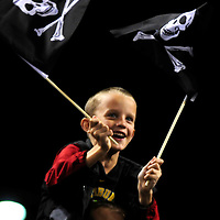 """A young fan waves the """"Jolly Rogers"""" in the ninth inning of the Pirates 4-2 win over the Cincinnati Reds at PNC Park in Pittsburgh, on September 21, 2013.  UPI/Archie Carpenter"""