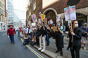 A-Level students demonstrate outside the Department for Education, in Central London on Saturday, Aug 22, 2020. They are reacting to the downgrading of A-Level results as a result of the Covid-19 pandemic. A-levels results that were announced on 13 August. Some 40 per cent of students across England have received downgraded results. Students are demanding CAG Appeals (Valid grounds for appeal against a Centre Assessed Grades (CAG) are if there has been an administrative error, bias or discrimination). Students also demand Education's secretary Gavin Williamson gone and the resignation of Johnson government. (VXP Photo/ Vudi Xhymshiti)