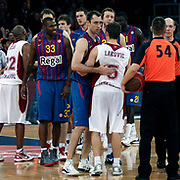 Galatasaray's and  FC Barcelona Regal's players during their Euroleague group D matchday 5 Galatasaray between  FC Barcelona Regal at the Abdi Ipekci Arena in Istanbul at Turkey on Thursday, November 17 2011. Photo by TURKPIX