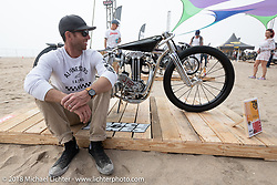 Max Hazan with his 1938 JAP 500 custom in the RSD Moto Beach Classic custom bike show. Huntington Beach, CA, USA. Saturday October 27, 2018. Photography ©2018 Michael Lichter.