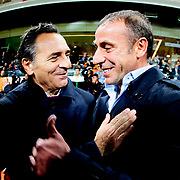 Istanbul Basaksehir's coach Abdullah Avci (R) and  Galatasaray's Coach Claudio Cesare Prandelli (L) during their Turkish Super League soccer match Istanbul Basaksehir between Galatasaray at the Basaksehir Fatih Terim Arena at Basaksehir in Istanbul Turkey on Sunday, 26 October 2014. Photo by Aykut AKICI/TURKPIX
