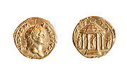 Titus 79-81 CE Gold 7.1gr Left, head of Titus. Right circulaR shrine