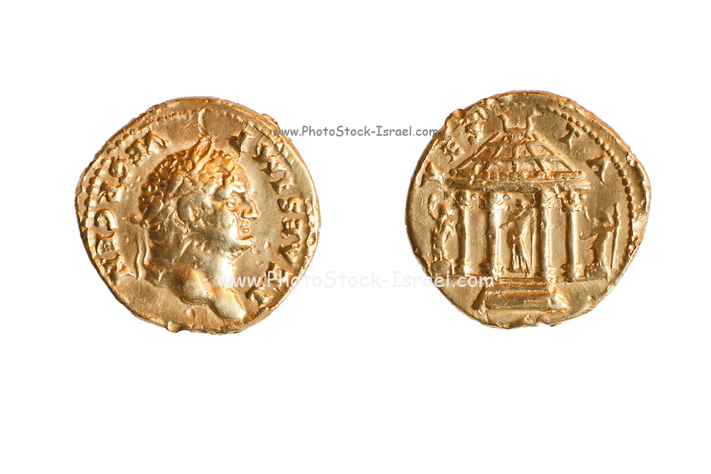 Titus 79-81 CE Gold 7.1gr Left, head of Titus. Right circulaR shrine