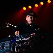 Mix Master Mike of the Beastie Boys performs to a packed crowd at Jackson Hole Mountain Resort for the finale of the spring concert series in Wilson, Wyoming.