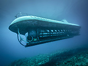 Scuba diving with submarine in Hawaii, Big Island
