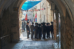A group of traditionally dressed Jews in the Old City of Jerusalem. From a series of travel photos taken in Jerusalem and nearby areas. Photo date: Wednesday, August 1, 2018. Photo credit should read: Richard Gray/EMPICS