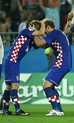 Luka Modric and Ivan Rakitic of Croatia after they scored during the UEFA EURO 2008 Quarter-Final soccer match between Croatia and Turkey at Ernst-Happel Stadium, on June 20,2008, in Wien, Austria. Turkey won after penalty shots. (Photo by Vid Ponikvar / Sportal Images)