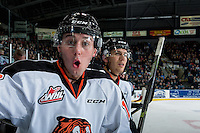 KELOWNA, CANADA - NOVEMBER 5: Max Gerlach #16 of the Medicine Hat Tigers celebrates a first period goal against Kelowna Rockets on November 5, 2016 at Prospera Place in Kelowna, British Columbia, Canada.  (Photo by Marissa Baecker/Shoot the Breeze)  *** Local Caption ***