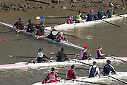 """Chiswick, London, Great Britain.<br /> """"confusion"""" as crews marsall below Chiswick Bridge.<br /> 2016 Schools Head of the River Race, Reverse Championship Course Mortlake to Putney. River Thames.<br /> <br /> Thursday  17/03/2016<br /> <br /> [Mandatory Credit: Peter SPURRIER;Intersport images]"""