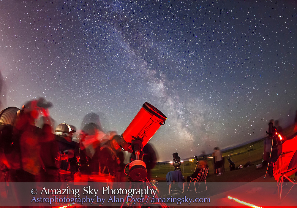 The summer Milky Way shone brightly to the south where the centre of the Galaxy lies in Sagittarius. ..Public and local astronomers gathered at the Rothney Astrophysical Observatory on July 21, 2012 for one of the annual Milky Way Nights presented by the RAO. From 10 pm to 2 am several hundred people stargazed under clear skies, enjoyed the naked eye views of the Milky Way and telescopic views of deep-sky objects such as nebulas and galaxies. Volunteers from the Calgary Centre of the Royal Astronomical Society of Canada and staff from TELUS Spark helped present the stars to the public.