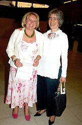 Left to right, MRS GUY BALY and MRS TIMOTHY LLEWELLYN at a concert performance of Death in Venice by Benjamin Britten in aid of The Venice in Peril Fund held at the Queen Elizabeth Hall, London on 30th June 2004.  Before the concert a cheque for 1 Million Pounds was presented by Pizza Express to the The Venice in Peril Fund.