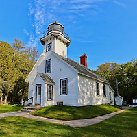 """""""Mission Point Lighthouse""""<br /> <br /> Scenic Lighthouse on the tip of a Peninsula just north of Traverse City Michigan. One of the many historic lighthouses on Lake Michigan!!<br /> <br /> Lighthouses of the Great Lakes by Rachel Cohen"""