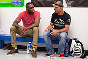 """UFC light heavyweight Jon Jones and UFC welterweight Donald """"Cowboy"""" Cerrone chat after training at Jackson Wink MMA in Albuquerque, New Mexico on June 9, 2016."""