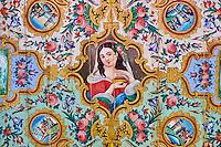 Iran, province du Fars, Shiraz, palais de Naranjestan, résidence historique, plafond peint // Iran, Fars Province, Shiraz, Naranjestan house, historic house, painted ceiling