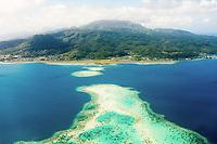 Aerial view of the barrier reef surrounding, Raiatea, Leeward Islands, French Polynesia
