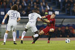 October 31, 2017 - Rome, Italy - Rome, Italy - 31/10/2017..Antonio Rudiger of Chelsea fights for the ball against Edin Dzeko of Roma during the UEFA Champions League Group C soccer match in Rome..UEFA Champions League Group C soccer match between AS Roma and Chelsea FC at the Olympic stadium in Rome. AS Roma defeating Chelsea FC 3-0. (Credit Image: © Giampiero Sposito/Pacific Press via ZUMA Wire)