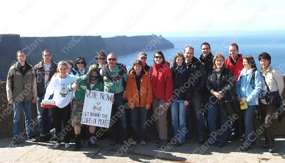 Moher Man drumming up support over the Easter bank holiday week-end for the campaign to make the Cliffs of Moher a Natural Wonder of the World.