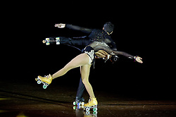 Isabella Genchi and Alberto Peruch perform during special artistic roller skating event when Lucija Mlinaric of Slovenia, World and European Champion ended her successful sports career, on November 7, 2015 in Rence, Slovenia. Photo by Vid Ponikvar / Sportida