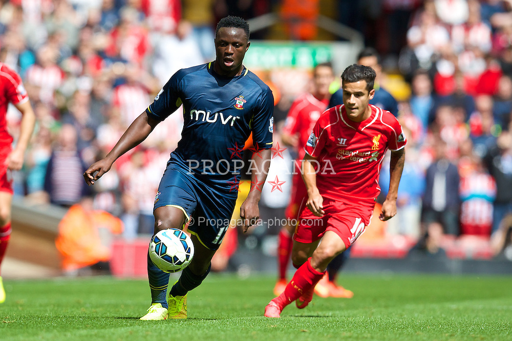 LIVERPOOL, ENGLAND - Sunday, August 17, 2014: Southampton's Victor Wanyama in action against Liverpool during the Premier League match at Anfield. (Pic by David Rawcliffe/Propaganda)