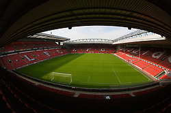 The view of the Anfield pitch from the Anfield Road Upper Stand, centre of Block 224.