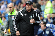 Cardiff City's  manager Russell Slade looks on as he walks to the dugout before his last match as manager, it was announced yesterday that he is to be moved upstairs for his new post as Director of Football. . Skybet football league championship match, Cardiff city v Birmingham city at the Cardiff city stadium in Cardiff, South Wales on Saturday 7th May 2016.<br /> pic by Carl Robertson, Andrew Orchard sports photography.