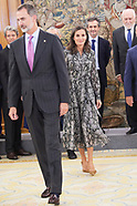 100819 Spanish Royals attend an audience at Zarzuela Palace