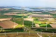 Nederland, Zeeland, Vlissingen-Oost, 09-05-2013; Nieuwe Sloelijn, goederenspoorlijn tussen het Sloegebied en de spoorlijn tussen Roosendaal en Vlissingen (Zeeuwse lijn). Veerse Meer aan de horizon.<br /> New Sloelijn, freight railway line between the harbor and the railway line between Vlissingen and Roosendaal (Zeeland line).<br /> luchtfoto (toeslag op standard tarieven);<br /> aerial photo (additional fee required);<br /> copyright foto/photo Siebe Swart.