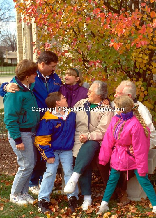 Family of three generations enjoying autumn afternoon. Presbyterian Church of WesternSprings WesternSprings Illinois USA