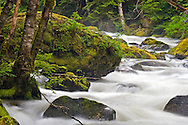Boulders in Sowerby Creek during Spring runoff  near Hope, British Columbia, Canada