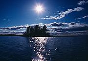 Island, sun and gulls, Rainy Lake, Voyageurs National Park, Minnesota.