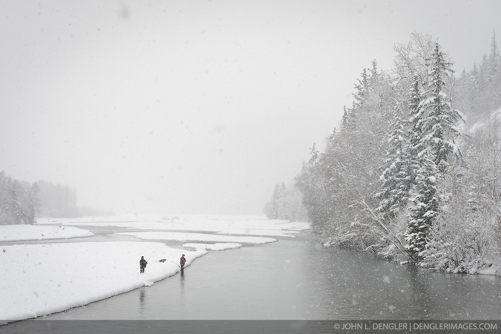 An early November snow did not stop these two fisherman on the Klehini River near the Porcupine Crossing turnoff.