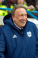 Cardiff City manager Neil Warnock smiles  during the The FA Cup 3rd round match between Gillingham and Cardiff City at the MEMS Priestfield Stadium, Gillingham, England on 5 January 2019. Photo by Martin Cole.