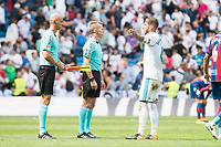 Real Madrid's Sergio Ramos protesting to the referees during La Liga match between Real Madrid and Levante UD at Santiago Bernabeu Stadium in Madrid, Spain September 09, 2017. (ALTERPHOTOS/Borja B.Hojas)