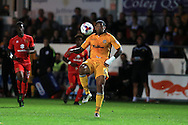 Joss Labadie of Newport county in action.EFL cup, 1st round match, Newport county v Milton Keynes Dons at Rodney Parade in Newport, South Wales on Tuesday 9th August 2016.<br /> pic by Andrew Orchard, Andrew Orchard sports photography.