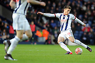 West Brom's Sebastien Pocognoci shoots at goal. The Emirates FA Cup, 4th round match, West Bromwich Albion v Peterborough Utd at the Hawthorns stadium in West Bromwich, Midlands on Saturday 30th January 2016. pic by Carl Robertson, Andrew Orchard sports photography.