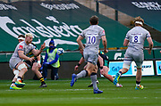 Sale Sharks flanker Jean-Luc Du Preez passes the ball to his brother, No.8 Dan Du Preez during a Gallagher Premiership Round 13 Rugby Union match, Saturday, Mar. 13, 2021, in Northampton, United Kingdom. (Steve Flynn/Image of Sport)
