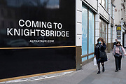 Shopping coming to London for Alphatauri in the upmarket area of Knightsbridge on 14th April 2021 in London, United Kingdom. Knightsbridge is one of the principal areas for exclusive, luxury goods in West London. It is known as a district where the rich and wealthy shop, mostly for high end fashion and jewellery.